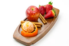 Fresh fruits and cinnamon Stock Photography