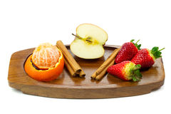 Fresh fruits and cinnamon Stock Image