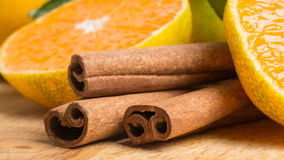 Fresh fruits with cinnamon Royalty Free Stock Photos