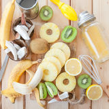 Fresh fruits and coconut milk Stock Image