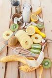 Fresh fruits and coconut milk Stock Photos