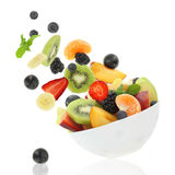 Fresh fruits. Coming out from a bowl stock photo