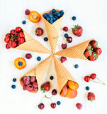 Fresh fruits in cone Stock Photography