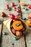 Fresh fruits in cone Royalty Free Stock Photo