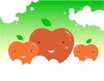 Fresh fruits / Cute Apples. Cute red apple smiles illustration. Additional formats available [EPS ,AI Royalty Free Stock Photos
