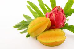 Fresh fruits. Delicious and fresh Star fruits with dragon fruit royalty free stock photo