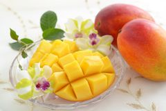 Fresh tropical fruits. Fresh fruits on the dining table stock image