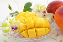 Fresh tropical fruits. Fresh fruits on the dining table stock photo