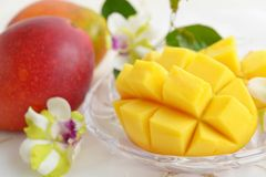 Fresh tropical fruits. Fresh fruits on the dining table royalty free stock photo