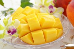 Fresh tropical fruits. Fresh fruits on the dining table royalty free stock images