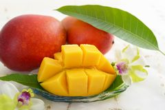 Fresh tropical fruits. Fresh fruits on the dining table royalty free stock photos