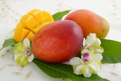 Fresh tropical fruits. Fresh fruits on the dining table royalty free stock photography