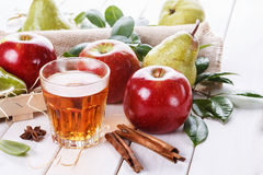 Fresh fruits and drink over white background Royalty Free Stock Images