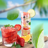 Fresh fruits drinks Royalty Free Stock Image