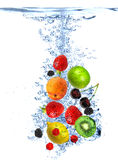 Fresh Fruits Dropped Into Water Royalty Free Stock Image