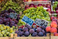 Fresh fruits on a farm market in Copenhagen, Denmark. Royalty Free Stock Photos