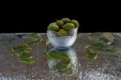 Fresh fruits of feijoa with reflection stock images
