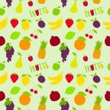 Fresh fruits flat seamless pattern Royalty Free Stock Image