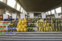 Fresh fruits and fresh vegetables direct from the farms. Av. Dr. Gastão Vidigal, 1946,  São Paulo, SP, Brazil, Jun, 18th 2017 sunday, morning. Fresh fruits and Royalty Free Stock Image
