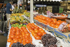 Fresh fruits and fresh vegetables direct from the farms. Av. Dr. Gastão Vidigal, 1946,  São Paulo, SP, Brazil, Jun, 18th 2017 sunday, morning. Fresh fruits and Royalty Free Stock Photography