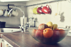 Fresh fruits in glass bowl Royalty Free Stock Images