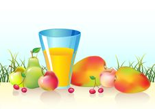Fresh fruits and glass of  juice Royalty Free Stock Photos