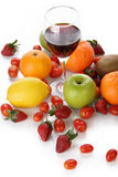 Fresh fruits with a glass of wine stock images