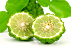 Fresh Fruits and Green Leaves of Kiffir lime or Leech lime on Wh Stock Image