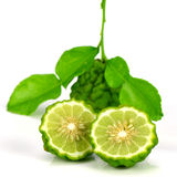 Fresh Fruits and Green Leaves of Kiffir lime or Leech lime on Wh Royalty Free Stock Image