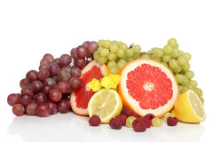 Fresh fruits with green and red grape Stock Photo