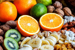 Fresh fruits. Healthy food. Mixed fruits and nuts background.Healthy eating, dieting, love fruits. Royalty Free Stock Image