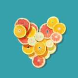 Fresh fruits heart Royalty Free Stock Photography