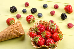 Fresh fruits for ice cream on table Royalty Free Stock Images
