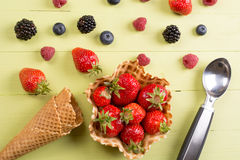 Fresh fruits for ice cream on table Royalty Free Stock Photography