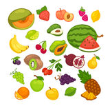 Fresh fruits icons set. Collection of vector sweet vegetarian food illustration. Pear and strawberry, orange, apple and banana, peach, lemon and watermelon Stock Photo