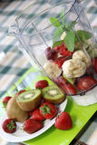 Fresh Fruits In The Blender Stock Photography