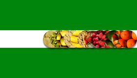 Fresh fruits inside twelve aligned circles Stock Photography