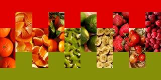 Fresh fruits inside vertical rectangles. Collection of vertical rectangles in zigzag, full of fresh fruits: mandarins, orange and mandarin pieces, tangerines royalty free stock photo
