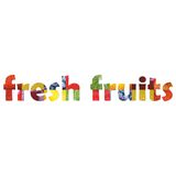 Fresh fruits inside word text. Colouful with fruits Royalty Free Stock Photography