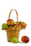 Fresh fruits in interwoven basket. Fresh pears, peaches and nectarines in interwoven basket isolated on white background Royalty Free Stock Image