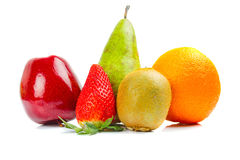 Fresh fruits isolated on white Royalty Free Stock Photos