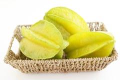 Fresh star fruits. Fresh fruits isolated on white background stock photo