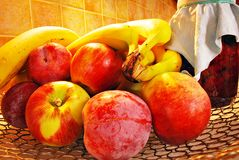 Fresh fruits and jars on wooden background Royalty Free Stock Photo