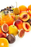 Fresh fruits and juice Royalty Free Stock Photography