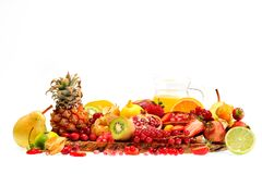 Fresh fruits and juice. Isolated on white background Royalty Free Stock Photos