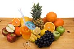 Fresh fruits and juice stock image