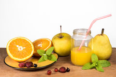 Fresh fruits and juice. For breakfast Stock Photo