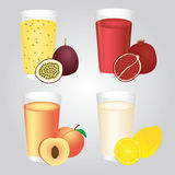 Fresh Fruits Juice in Glass Set Royalty Free Stock Image