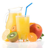 Fresh Fruits Juice In Glass And Slices On White Stock Image