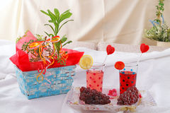 Fresh fruits with juice Royalty Free Stock Photography